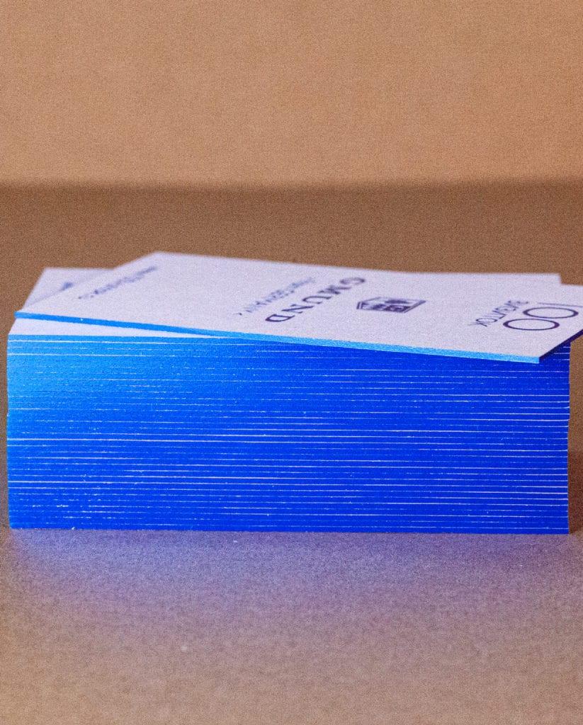 Фольгирование визиток торцов