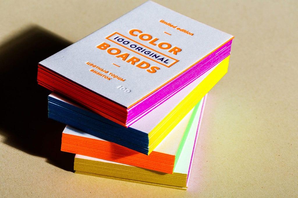 Покраска среза визиток