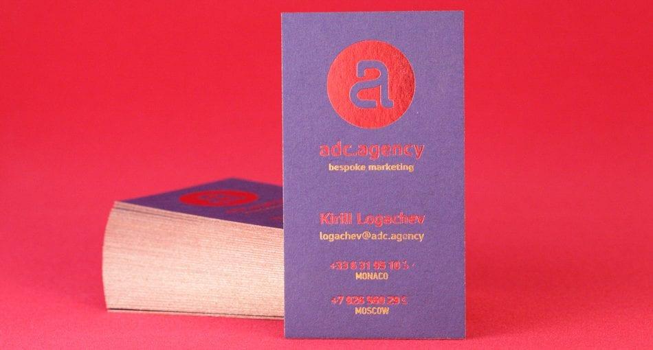 Покраска торцов визиток в медный цвет