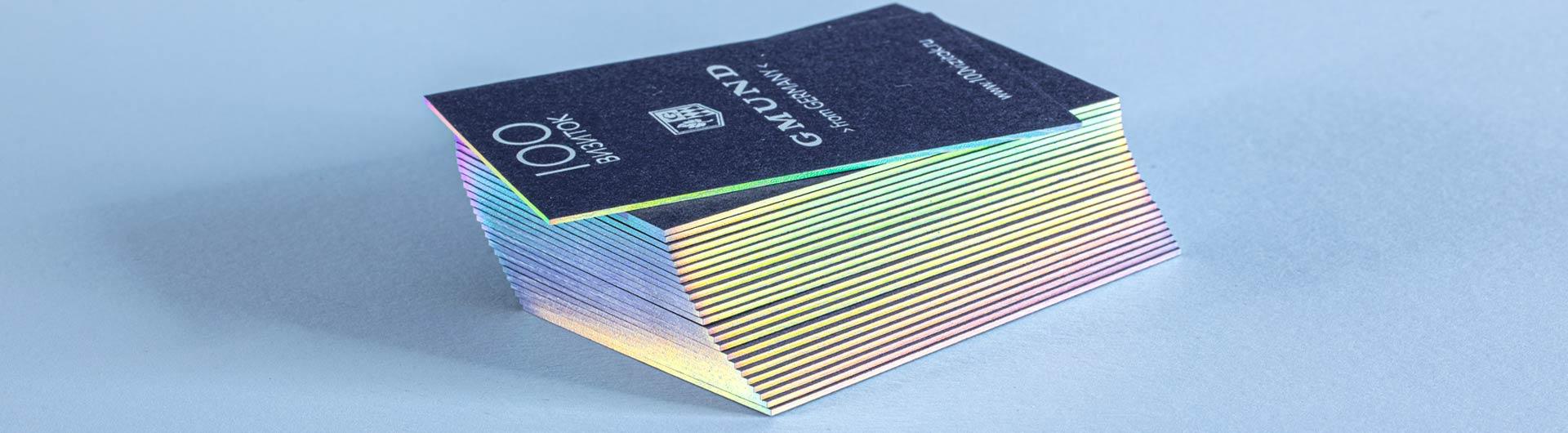 Золочение торцов визитки